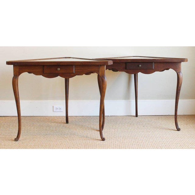 Brown Pair of Mirror Topped Triangular Tables For Sale - Image 8 of 11