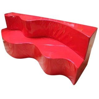 1990s Italian Andrea Branzi for Poltrovna Red Vinyl Superonda Modular Sofa