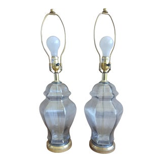 A Pair- Vintage Mercury Glass Fillable Ginger Jar Lamps For Sale