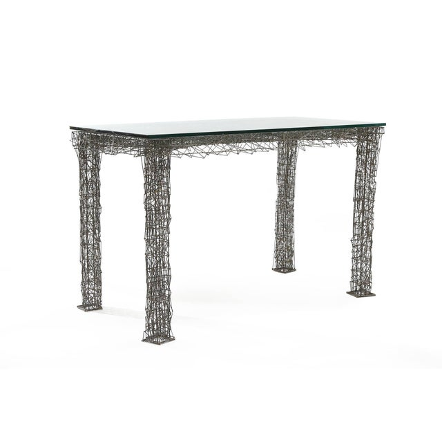 Important William de Lillo wire rod console or dining table, circa late 1970s. William de Lillo worked with Tiffany and...