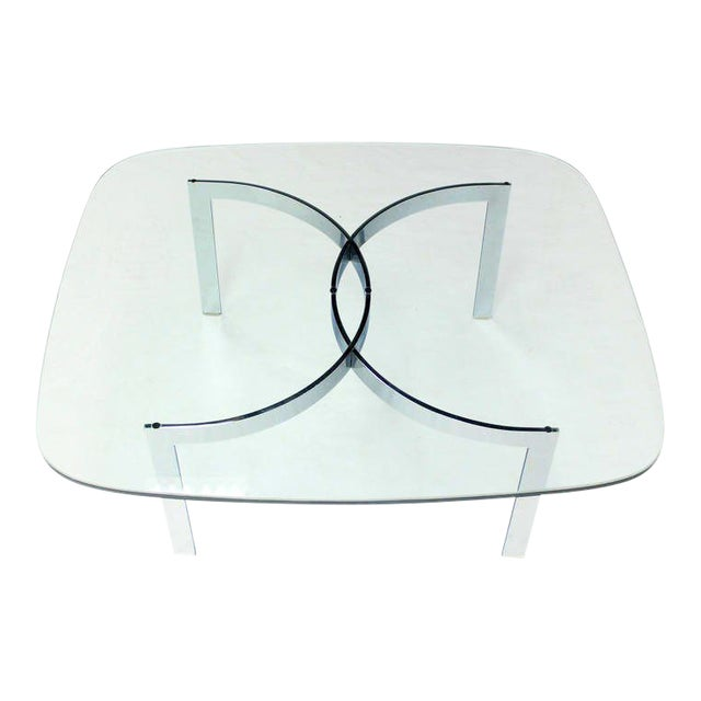 Mid-Century Modern Chrome and Glass-Top Coffee Table For Sale
