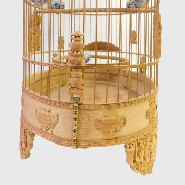 Bamboo Floral Carved Birdcage For Sale In San Francisco - Image 6 of 9