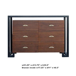 Oriental Contemporary 6 Drawers Foyer Console Sideboard Table Cabinet For Sale