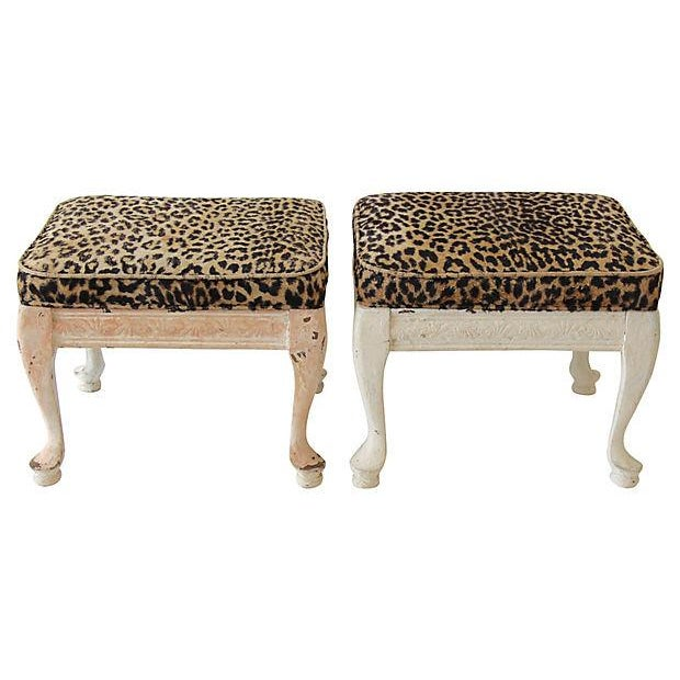 Leopard Print Footstools - A Pair - Image 1 of 5