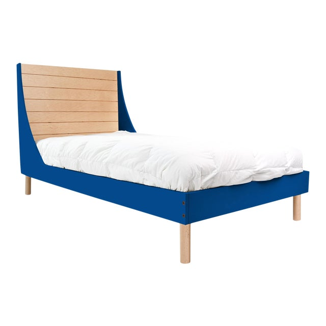 Minimo Twin Panel Bed in Maple With Pacific Blue Finish For Sale