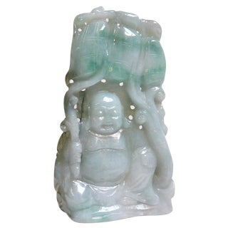 Chinese Jade Carved Happy Buddha Ornament Display
