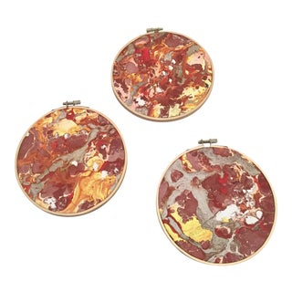 Multicolored Marbled Paper Wall Hangings - Set of 3 For Sale