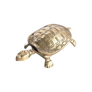Brass Turtle Trinket Box With Hinged Lid