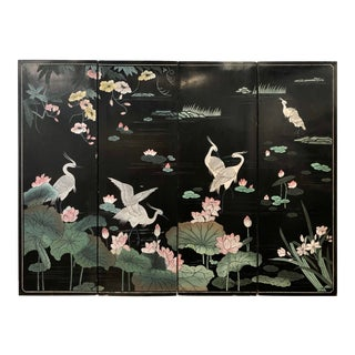 Vintage Chinese Lacquer Screen With Lotus and Herons For Sale