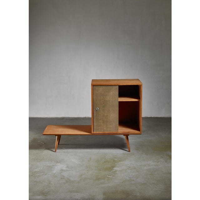 Planner Group Paul McCobb Planner Group Bench and Grass Cloth Sliding Door Unit For Sale - Image 4 of 6