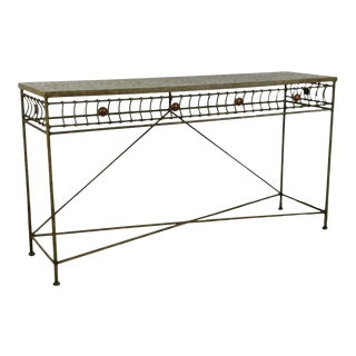 1980s Regency Iron Console Table For Sale