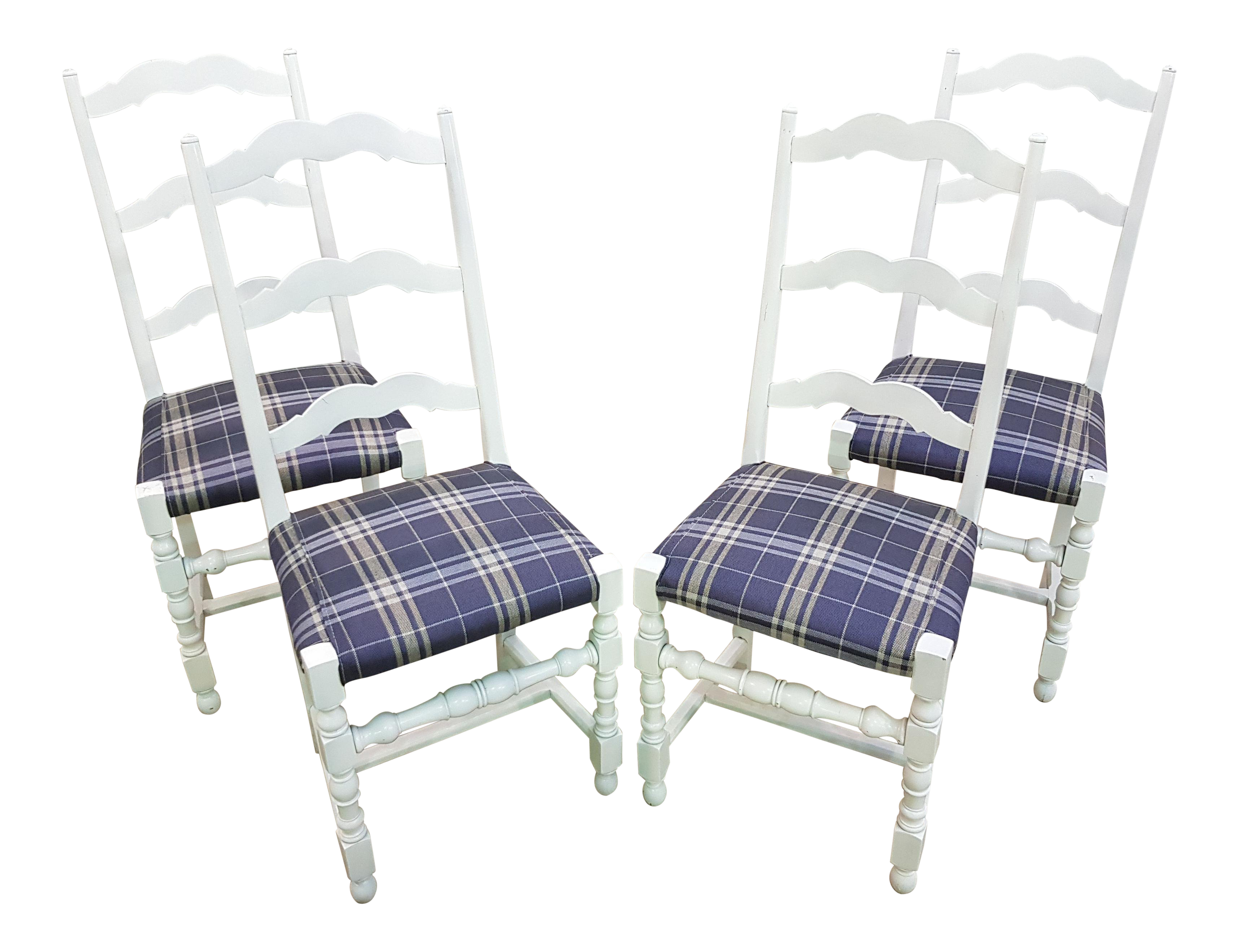 Awesome Vintage French Country White Oak Set Of Four Ladder Back Dining Chairs Pabps2019 Chair Design Images Pabps2019Com