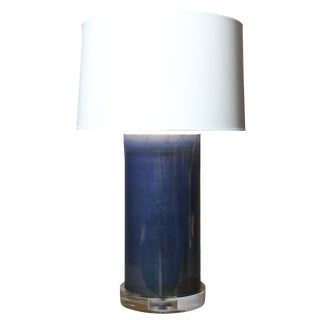 Contemporary Cilindro Blue Abstract Glass Table Lamp