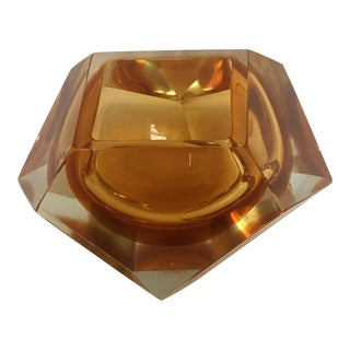 Flavio Poli Orange Faceted Sommerso Murano Glass Bowl For Sale