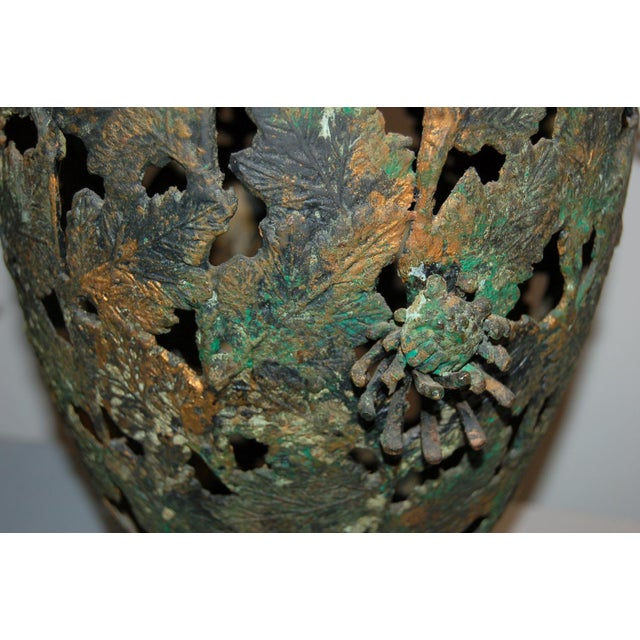 Vintage Metal Pierced Brutalist Table Lamps For Sale - Image 11 of 13