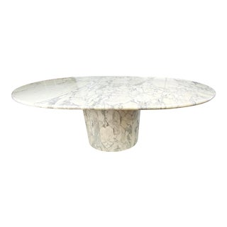 Mid-Century Oval Dining Table in White Carrara Marble For Sale