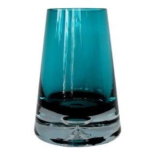 Scandinavian Teal Glass Vase For Sale