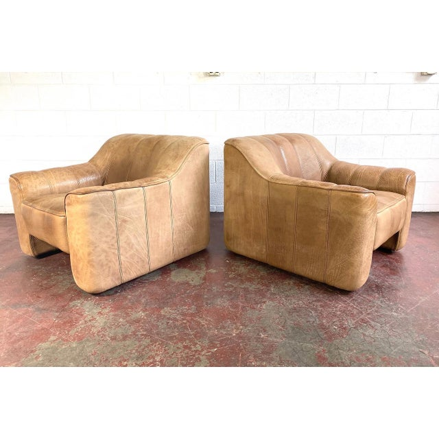 Mid-Century Modern De Sede Leather Lounge Chairs Model Ds 44 - a Pair For Sale - Image 3 of 8