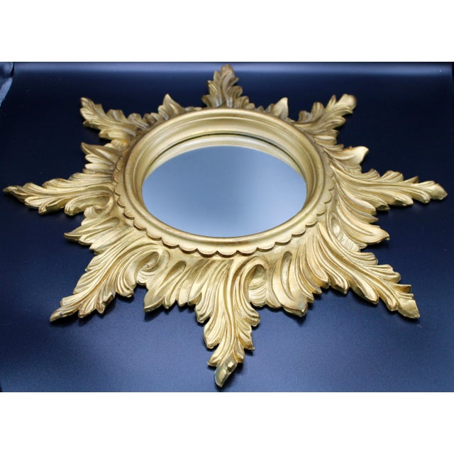 Mid 20th Century Mid-Century Gold Gilded Italian Sunburst Wall Mirror For Sale - Image 5 of 10