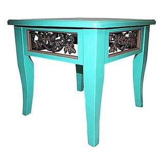 Hand Painted Turquoise Asian Side Table For Sale