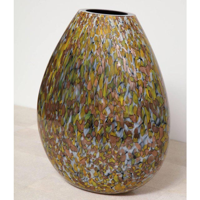 Signed Crepax Murano glass vase in olive and copper metallic.
