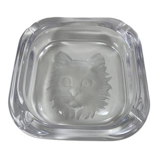 1970s Cristal De Sevres Partially Frosted Lead Crystal Cat Ashtray, Unmarked For Sale