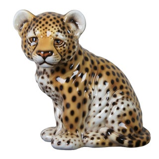 Intrada Baby Cheetah Cub Seated Ceramic Figure For Sale