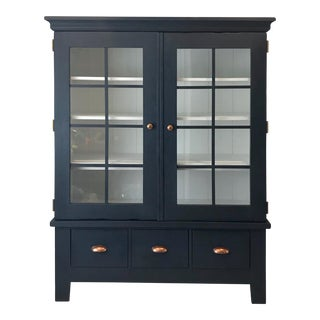 American Classical Style Navy Blue China Cabinet