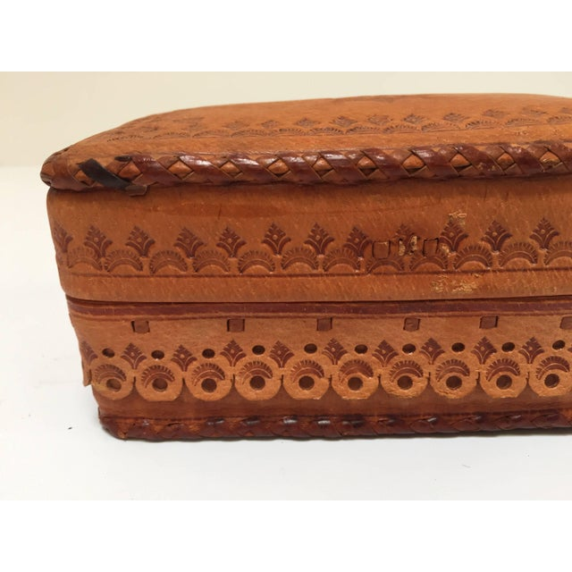 Leather Vintage Brown Box Hand Tooled in Morocco With Tribal African Designs For Sale - Image 10 of 13