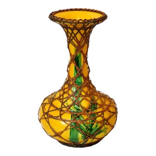 Antique Rattan Wrapped Awaji Pottery Vase With Incised Bamboo For Sale
