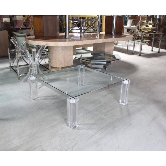 Modern Vintage Mid Century Lucite Base Large Square Coffee Table For Sale - Image 3 of 9