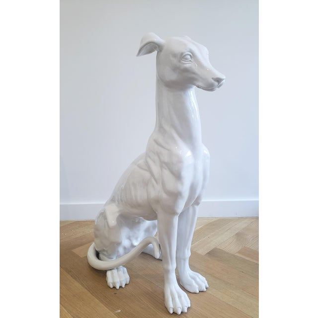 Mid-Century Hollywood Regency Style Glazed Ceramic Greyhound Whippet Statue For Sale - Image 12 of 12