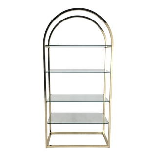 20th Century Regency Design Institute America Arched Brass and Glass Etagere For Sale