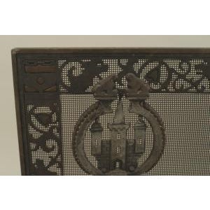 Early 20th Century American Arts and Crafts wrought iron and bronze fire place andirons and screen For Sale - Image 5 of 11