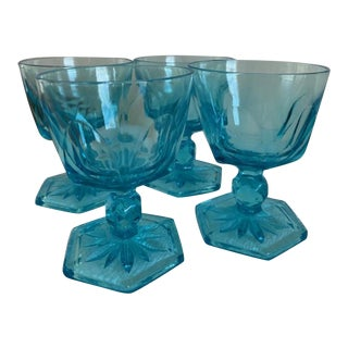 Blue Glass Drinking Glasses - Set of 4 For Sale