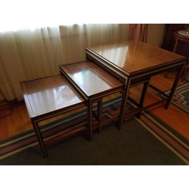 1963 Rare Widdicomb Mid-Century Walnut With Brass Inlay Nesting Tables - Set of 3 For Sale - Image 13 of 13