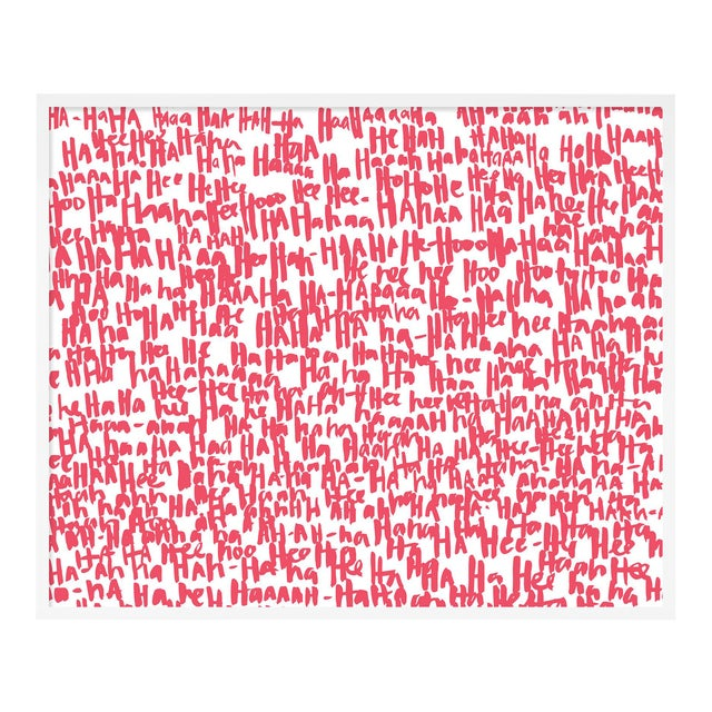 Haha Pink Two by Kate Roebuck in White Framed Paper, Medium Art Print For Sale