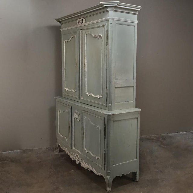 18th Century Country French Painted Provincial Buffet a Deux Corps For Sale - Image 4 of 13