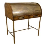 Image of Hollywood Regency Mastercraft Roll Top Brass Bamboo Writing Desk For Sale