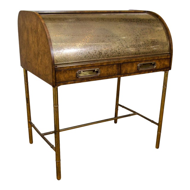 Hollywood Regency Mastercraft Roll Top Brass Bamboo Writing Desk For Sale