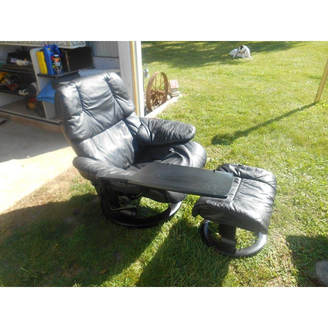 Ekornes Stressless Recliner & Ottoman For Sale - Image 6 of 11