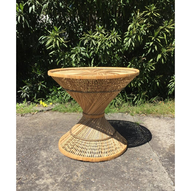 Tan 70s Boho Rattan Hourglass Dining Table For Sale - Image 8 of 8