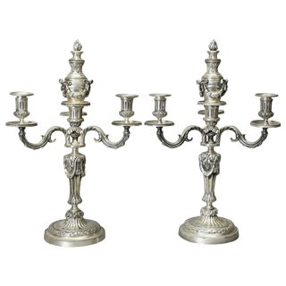 Pair of Louis XVI Style Silvered Bronze Candelabra For Sale