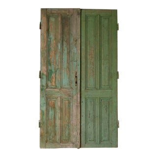 Antique Original Green Painted Doors - a Pair For Sale