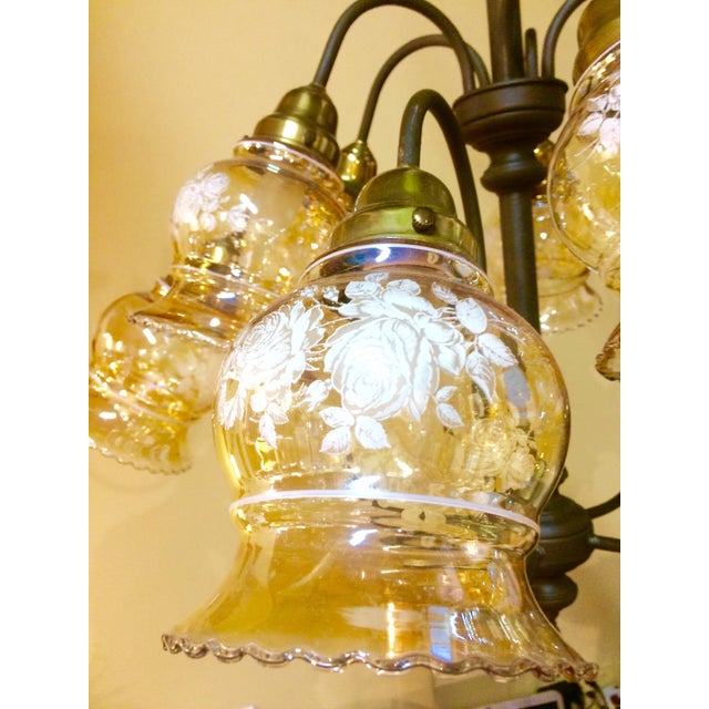 10-Arm Glass Shade Chandelier - Image 4 of 5