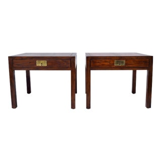 Henredon Parquetry Top Burl Walnut Campaign End Tables For Sale