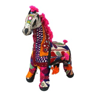 1950s Boho Chic Pink Embroidered Accent Rajasthani Horse For Sale