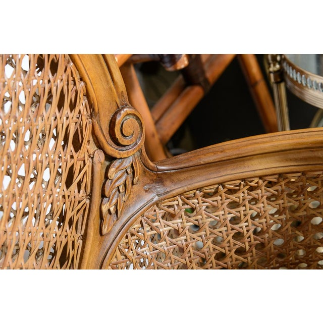 Antique French C.1870-1880 Louis XVI Style Hand Carved Wood Settee With Double Canning For Sale - Image 10 of 13