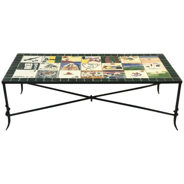 WHIMSICAL CERAMIC TILE TOP COFFEE TABLE WITH HAND-PAINTED NOSTALGIC SCENES For Sale