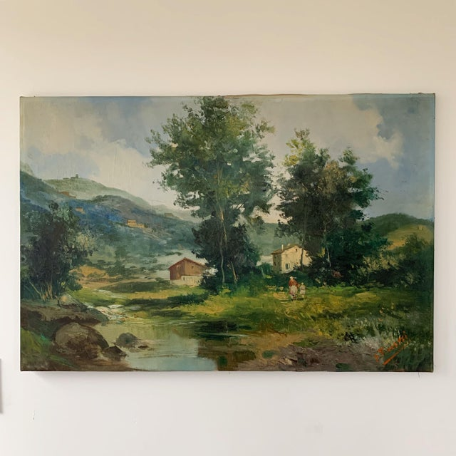Mid-Century Mountain Valley Landscape, Oil on Canvas For Sale - Image 9 of 9